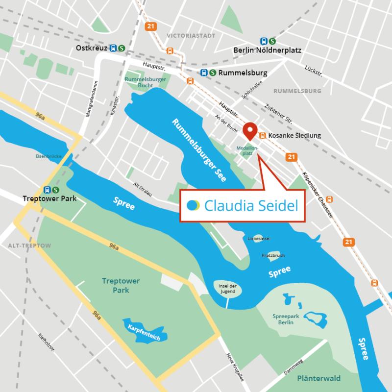 Anfahrt zu Claudia Seidel, Businesscoach & Teamcoach in Berlin-Rummelsburg, Lichtenberg, nahe Ostkreuz und Teptower Park / Plänter Wald